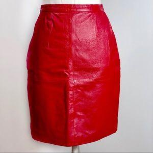1f0f9624af Vintage Skirts | Styleworks 80s Red Leather Pencil Skirt | Poshmark